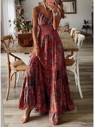 Print Sleeveless A-line Slip/Skater Casual/Boho/Vacation Maxi Dresses