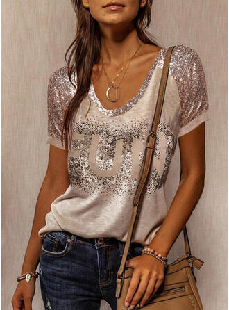 Figure Sequins Round Neck Short Sleeves T-shirts
