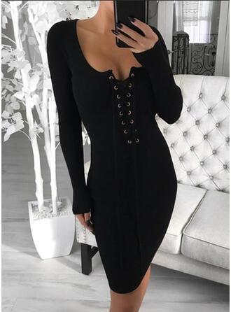 Solid Long Sleeves Bodycon Knee Length Elegant Pencil Dresses