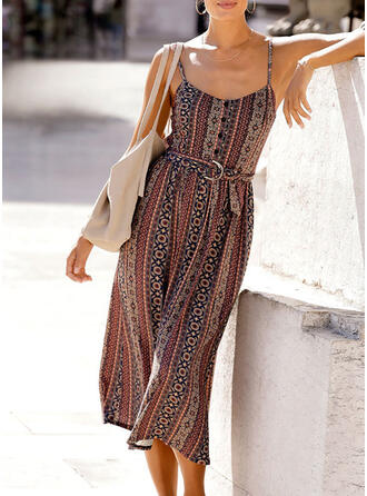 Print Sleeveless A-line Slip/Skater Casual/Boho/Vacation Midi Dresses