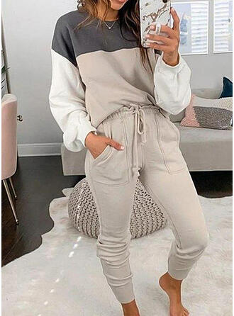Pockets Color Block Sporty Casual Plus Size Sweatshirts & Two-Piece Outfits Set