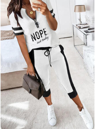Print Letter Casual Plus Size Drawstring Pants Two-Piece Outfits