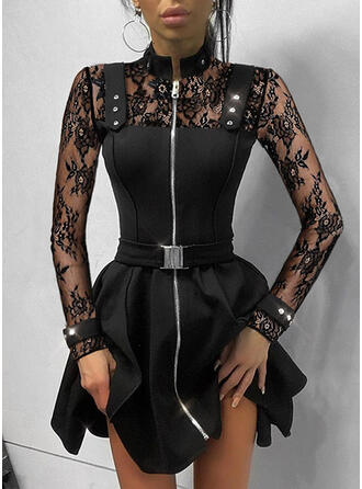 Lace/Sequins/Solid Long Sleeves A-line Above Knee Little Black/Elegant Skater Dresses
