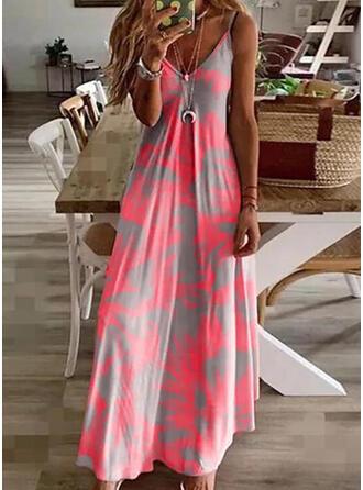 Print Sleeveless A-line Slip/Skater Casual/Vacation Maxi Dresses