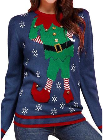 Kvinnor polyester Tecknad Ugly Christmas Sweater