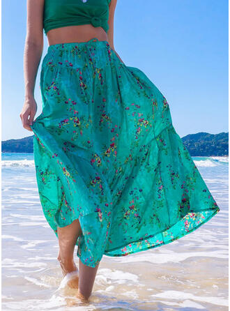 Polyester Print Maxi A-Line Skirts