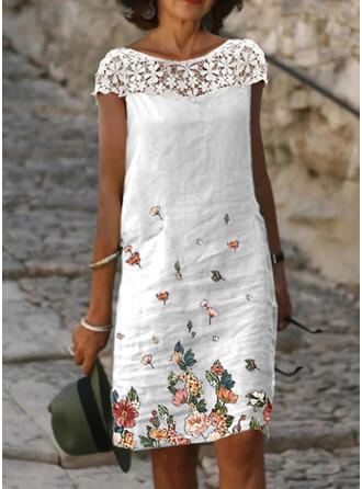 Lace/Print/Floral Short Sleeves Shift Knee Length Casual Dresses