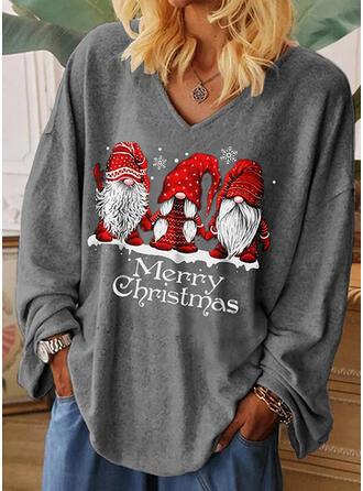 Print Figur V-ringning Långa ärmar Fritids Jul T-shirts