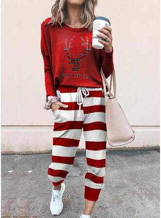 Striped Print Drawstring Christmas Casual Sporty Suits