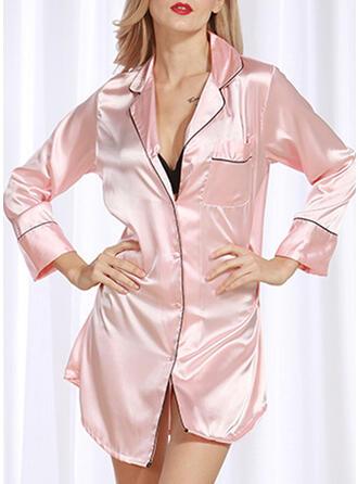 Polyester Solid färg Långa ärmar Sexig Lockande Pyjamasuppsättning