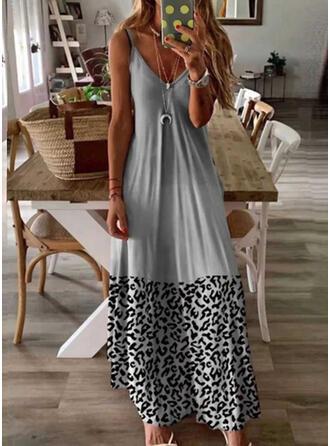 Leopard/Gradient Sleeveless A-line Slip/Skater Casual Maxi Dresses
