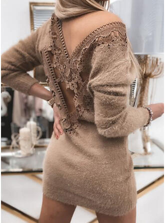 Solid Lace Long Sleeves Dropped Shoulder Bodycon Above Knee Elegant Sweater Dresses