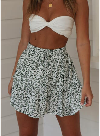 Polyester Print Above Knee A-Line Skirts