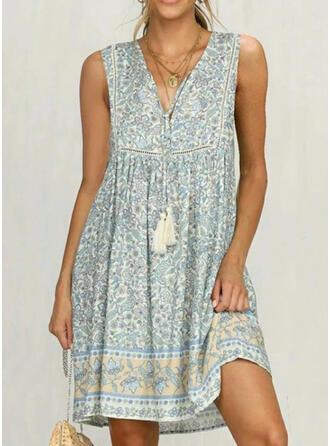 Print/Floral Sleeveless Shift Knee Length Casual/Boho/Vacation Tank Dresses