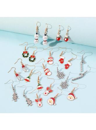 Julgran Julren Jul Julen Santa Julen Snögubbe Jul Kransar Legering Kvinnor Damer' Flicka örhängen (Set av 12 par)