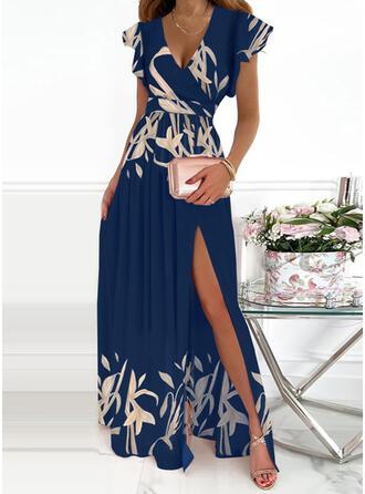 Print Short Sleeves Ruffle Sleeve A-line Skater Elegant Maxi Dresses