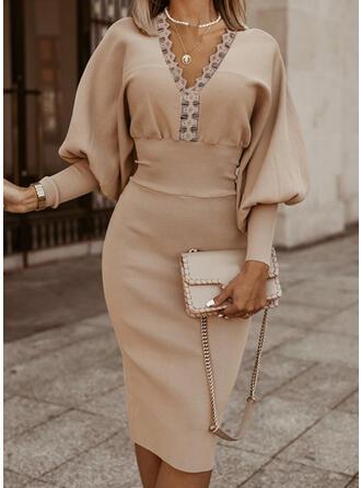 Solid Spets V-ringning Casual Lång Tröja klänning