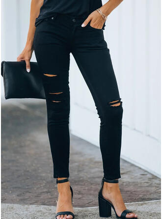 Solid Plus Size Ripped Sexy Plain Denim & Jeans