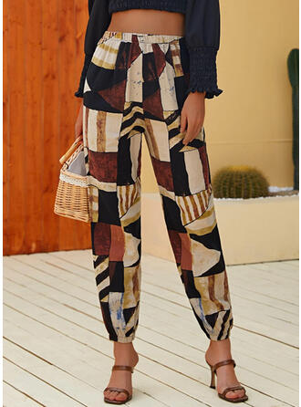 Geometric Cropped Casual Vacation Shirred Pants