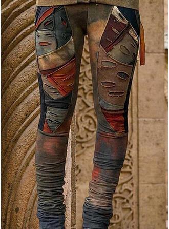 Pockets Shirred Plus Size Tie Dye Ripped Casual Tribal Leggings