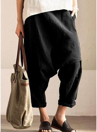 Solid Shirred Extra stor storlek Lång Fritids Sportig Byxor