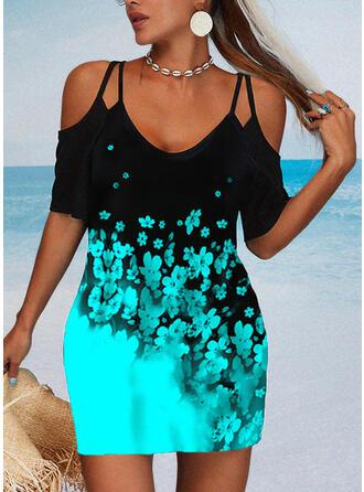 Print/Floral Short Sleeves Cold Shoulder Sleeve Sheath Above Knee Casual Dresses