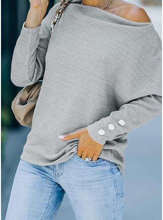 Solid One Shoulder Long Sleeves Sweatshirt