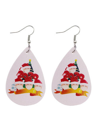 Drop Shape Christmas Survivor 2020 PU Women's Earrings 2 PCS