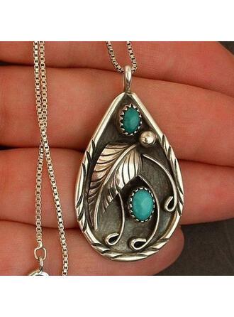 Boho Drop Shape Feather Design Alloy Women's Necklaces