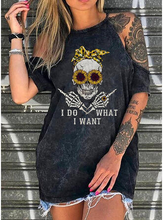 Sunflower Print Cold Shoulder 1/2 Sleeves Casual Blouses