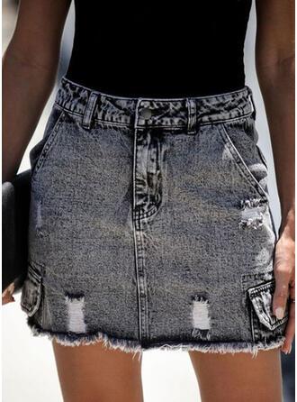 Denim Plain Mini Pencil Skirts