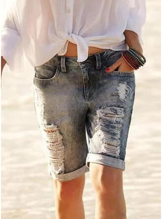 Plus Size Ripped Denim Vintage Shorts