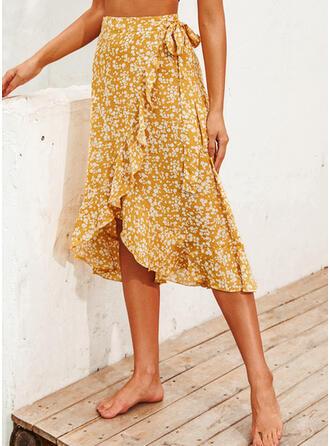 Polyester Print PolkaDot Mid-Calf A-Line Skirts