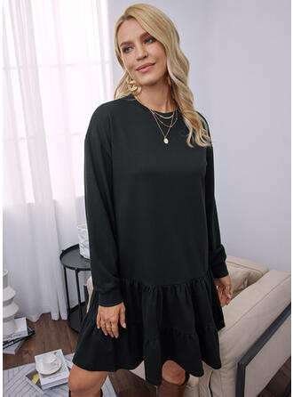 Solid Long Sleeves Dropped Shoulder Shift Above Knee Little Black/Casual Tunic Dresses