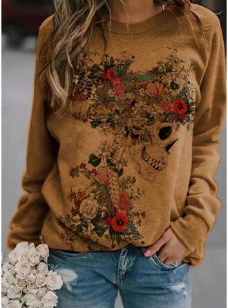 Halloween Print Floral Round Neck Long Sleeves Sweatshirt