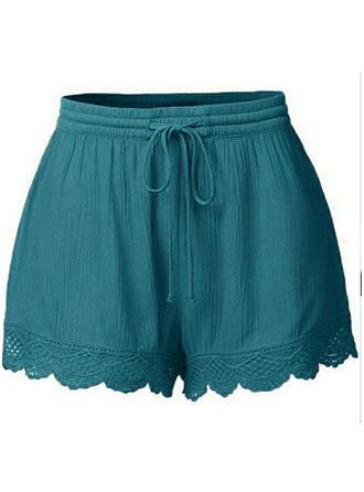 Spets Shirred Extra stor storlek Ovanför knäet Boho Fritids Sexig Shorts