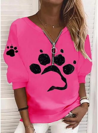 Print Animal V-Neck Long Sleeves Sweatshirt