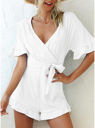 Solid V-Neck 1/2 Sleeves Elegant Romper