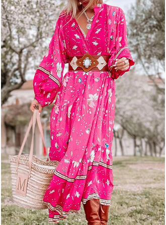 Print/Floral Long Sleeves A-line Skater Boho Maxi Dresses
