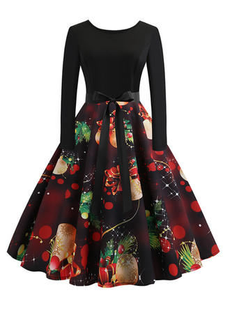Print Long Sleeves A-line Knee Length Vintage/Christmas/Party Skater Dresses