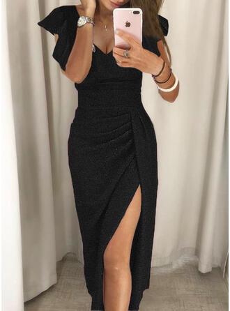 Solid Sequins Short Sleeves Ruffle Sleeve Sheath Little Black/Party/Elegant Midi Dresses