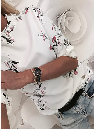 Print Floral Round Neck 1/2 Sleeves Button Up Casual Blouses