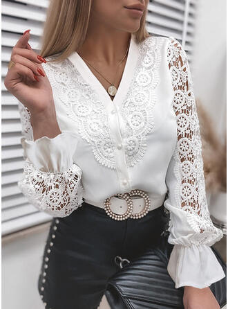 Solid Lace V-Neck Long Sleeves Button Up Elegant Shirt Blouses