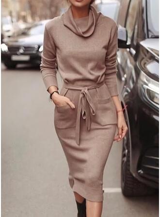 Solid Long Sleeves Bodycon Pencil Casual Midi Dresses