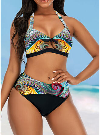 Colorful High Waist Print Keyhole Halter Eye-catching Retro Bikinis Swimsuits