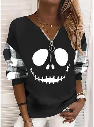 Halloween Print Plaid V-Neck Long Sleeves Sweatshirt