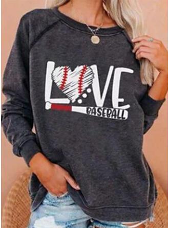 Print Heart Letter Round Neck Long Sleeves Sweatshirt