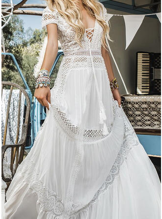 Lace/Solid Short Sleeves A-line Skater Party/Elegant/Vacation Maxi Dresses