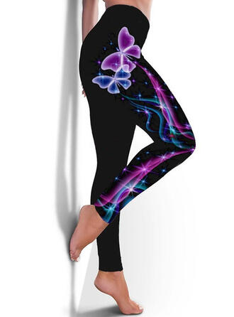 Print Plus Size Casual Sporty Yoga Leggings