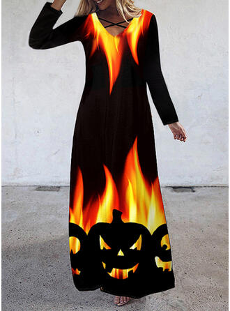 Halloween Print Long Sleeves Shift Party Maxi Dresses